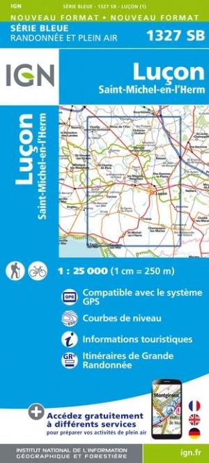 Wandelkaart - Topografische kaart 1327SB Luçon, St-Michel-en-l'Herm   IGN