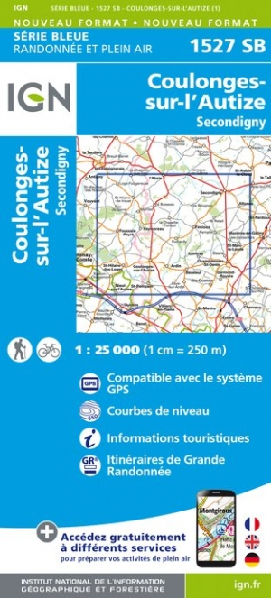 Wandelkaart - Topografische kaart 1527SB Coulonges-sur-l'Autize, Secondigny | IGN