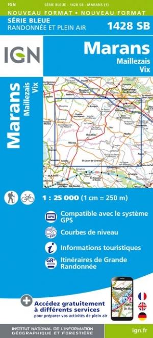 Wandelkaart - Topografische kaart 1428SB Maillezais, Vix, Marans | IGN