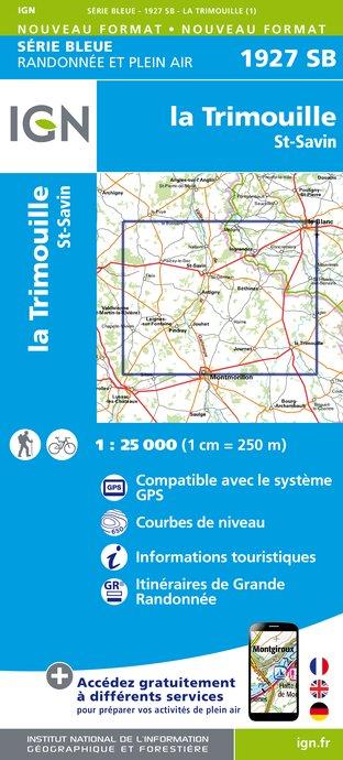 Wandelkaart - Topografische kaart 1927SB La Trimouille, St-Savin | IGN