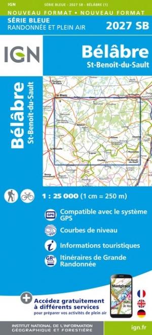Wandelkaart - Topografische kaart 2027SB Bélâbre, Saint-Benoît-du-Sault | IGN