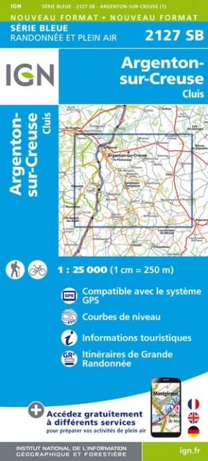 Wandelkaart - Topografische kaart 2127SB Argenton-sur-Creuse, Cluis | IGN