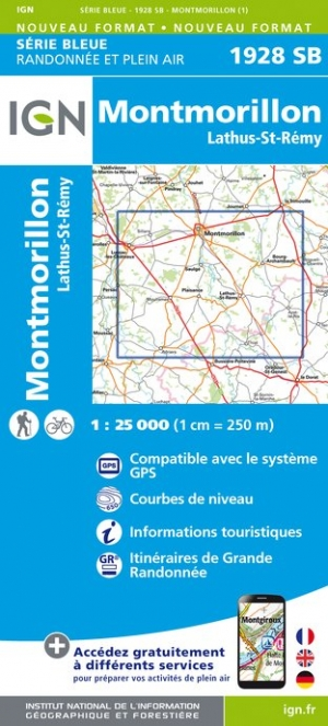 Wandelkaart - Topografische kaart 1928SB Montmorillon, Lathus-St-Rémy | IGN