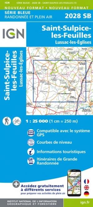 Wandelkaart - Topografische kaart 2028SB St-Sulpice-les-Feuilles, Lussac-les-Eglises | IGN