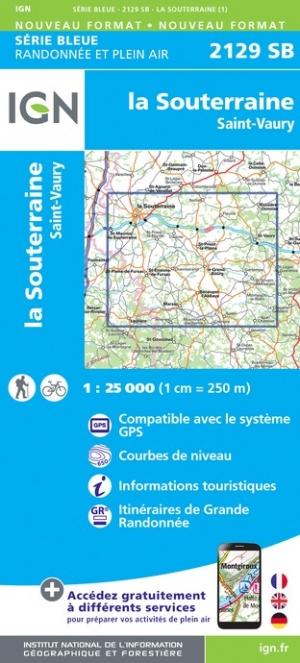 Wandelkaart - Topografische kaart 2129SB St-Vaury, La Souterraine | IGN