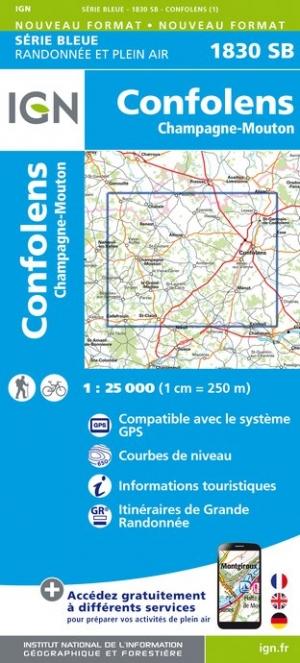 Wandelkaart - Topografische kaart 1830SB Champagne-Mouton, Confolens | IGN