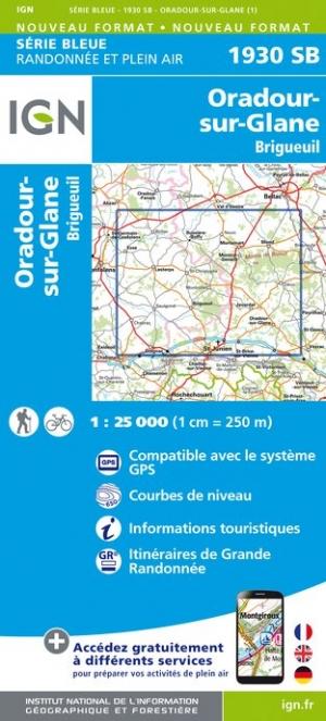 Wandelkaart - Topografische kaart 1930SB Oradour-sur-Glane, Brigueuil | IGN