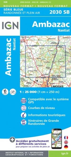 Wandelkaart - Topografische kaart 2030SB Nantiat - Ambazac | IGN