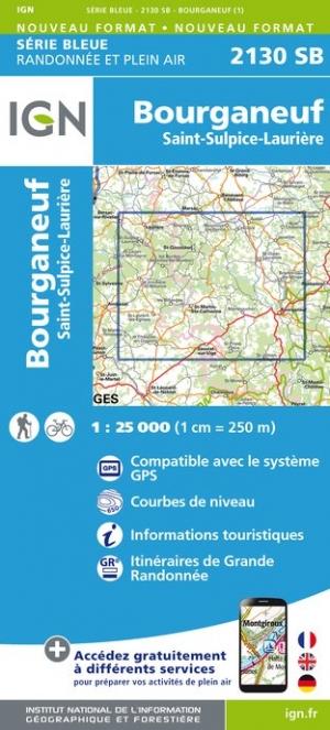 Wandelkaart - Topografische kaart 2130SB St-Sulpice-Laurière, Bourganeuf | IGN