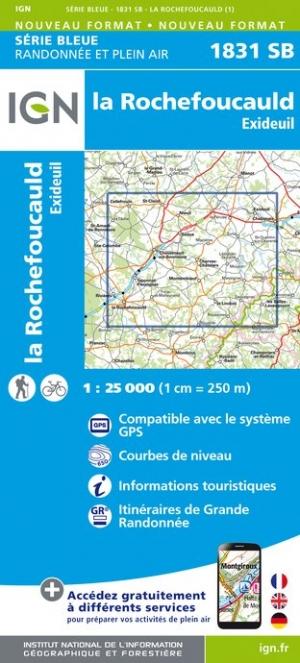 Wandelkaart - Topografische kaart 1831SB Rochefoucauld - Exideuil | IGN