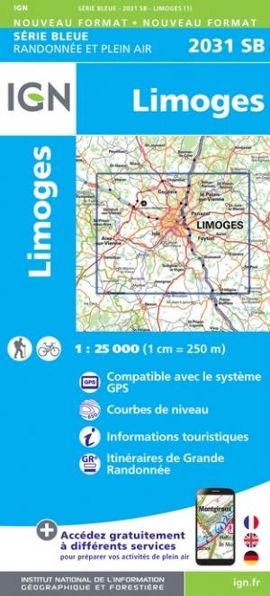 Wandelkaart - Topografische kaart 2031SB Limoges | IGN