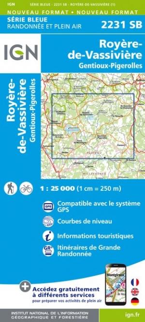 Wandelkaart - Topografische kaart 2231SB Gentioux-Pigerolles, Royère-de-Vassivière | IGN