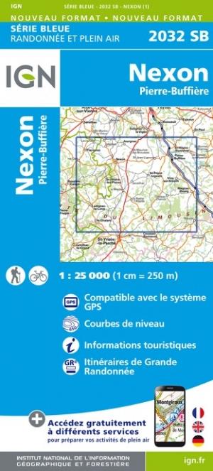 Wandelkaart - Topografische kaart 2032SB Pierre-Buffière, Nexon | IGN