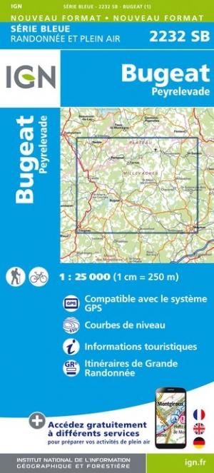 Wandelkaart - Topografische kaart 2232SB Bugeat - Peyrelevade | IGN
