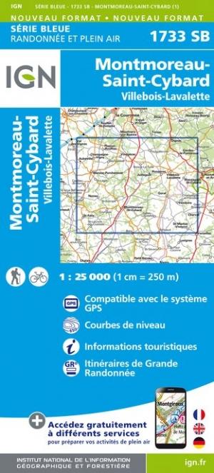 Wandelkaart - Topografische kaart 1733SB Montmoreau-St-Cybard, Villebois-Lavalette | IGN