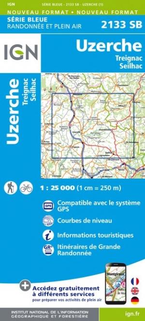 Wandelkaart - Topografische kaart 2133SB Uzerche, Treignac, Seilhac | IGN