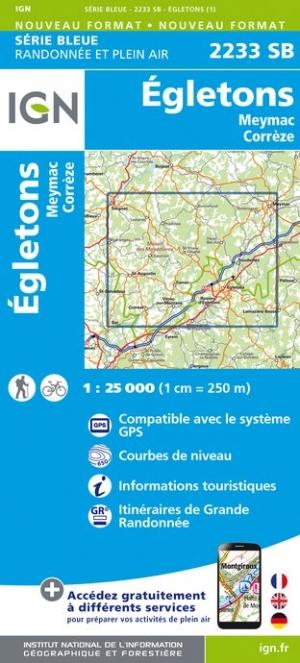Wandelkaart - Topografische kaart 2233SB Egletons - Meymac - Corrèze | IGN