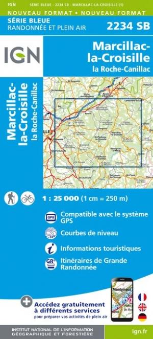 Wandelkaart - Topografische kaart 2234SB Marcillac-la-Croisille, La Roche-Canillac | IGN