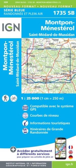 Wandelkaart - Topografische kaart 1735SB Montpon-Ménestérol ,Saint-Médard-de-Mussidan | IGN