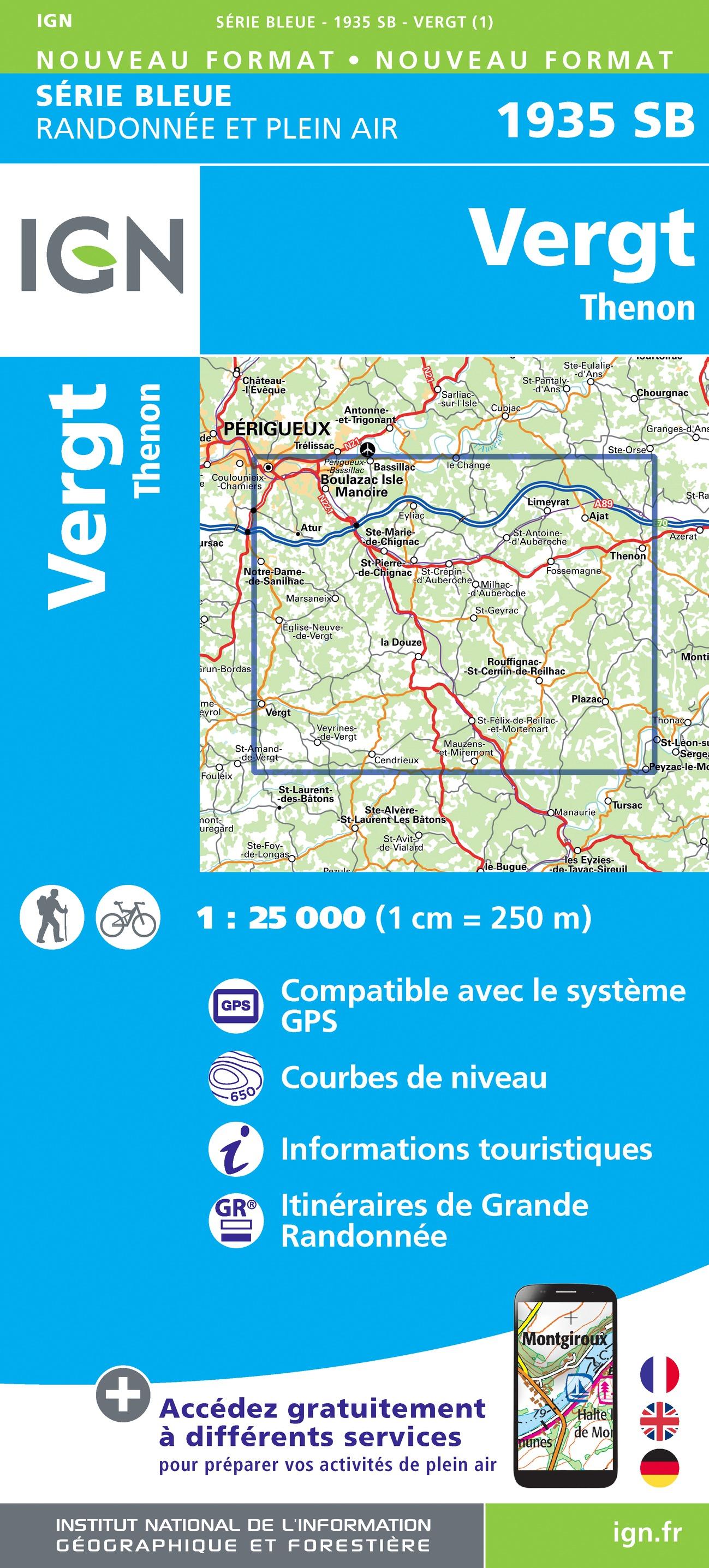 Wandelkaart - Topografische kaart 1935SB Vergt - Thenon | IGN