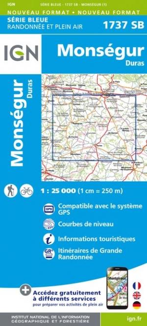 Wandelkaart - Topografische kaart 1737SB Duras - Monségur | IGN