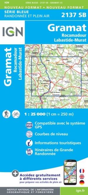 Wandelkaart - Topografische kaart 2137SB Labastide-Murat, Gramat - Rocamadour | IGN