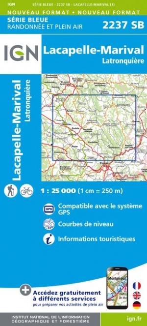 Wandelkaart - Topografische kaart 2237SB Latronquière, Lacapelle-Marival | IGN