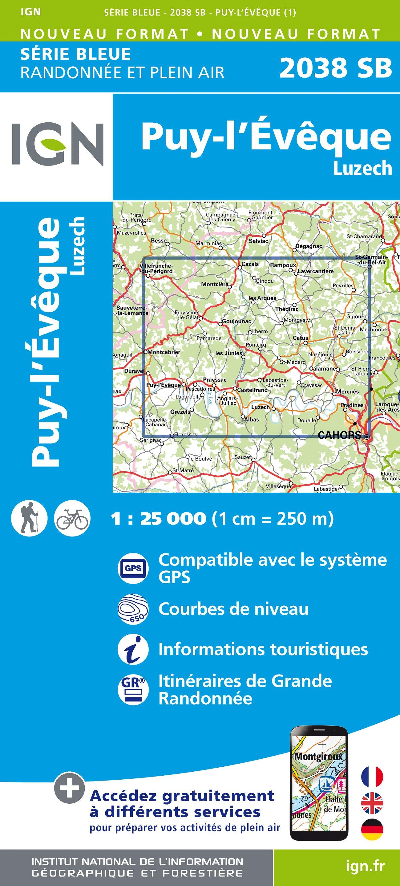 Wandelkaart - Topografische kaart 2038SB Puy l'Evêque, Luzech | IGN