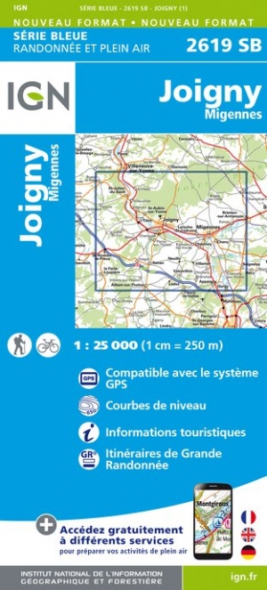 Wandelkaart - Topografische kaart 2619SB Joigny | IGN
