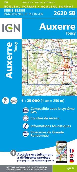 Wandelkaart - Topografische kaart 2620SB Auxerre - Toucy | IGN