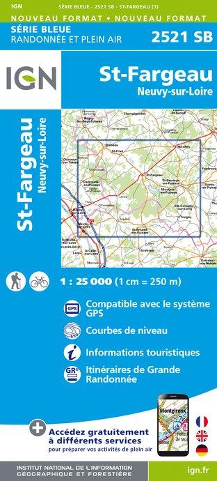 Wandelkaart - Topografische kaart 2521SB St-Fargeau, Neuvy-sur-Loire | IGN