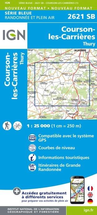 Topografische kaart - Wandelkaart 2621SB Courson-les-Carrières, Thury | IGN