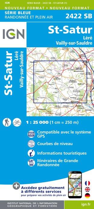 Wandelkaart - Topografische kaart 2422SB St-Satur, Léré, Vailly-sur-Sauldre | IGN