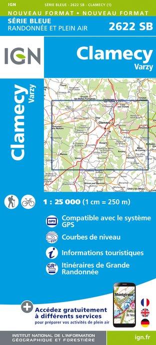 Wandelkaart - Topografische kaart 2622SB Clamecy - Varzy | IGN