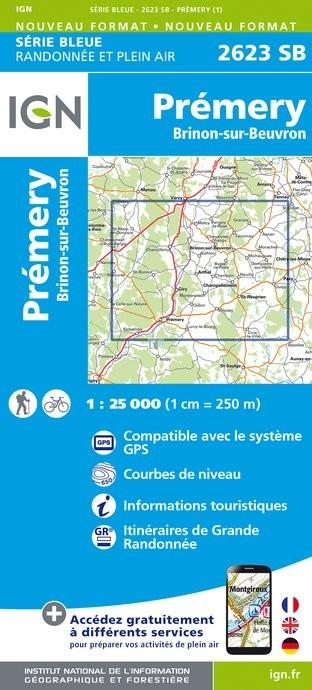 Topografische kaart - Wandelkaart 2623SB Prémery, Brinon-sur-Beuvron | IGN