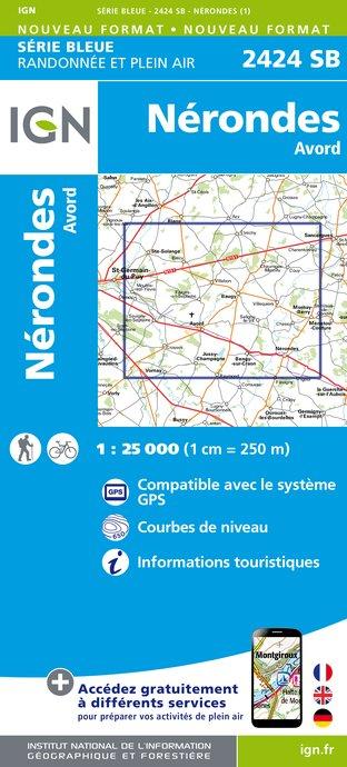 Wandelkaart - Topografische kaart 2424SB Nérondes - Avord   IGN