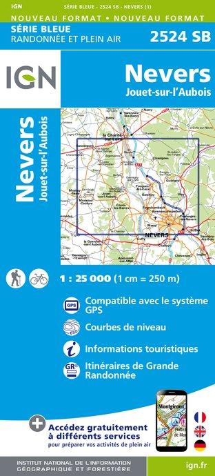 Wandelkaart - Topografische kaart 2524SB Nevers, Jouet-sur-l'Aubois   IGN