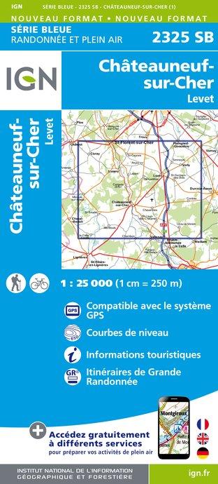Wandelkaart - Topografische kaart 2325SB Châteuneuf-sur-Cher, Levet   IGN