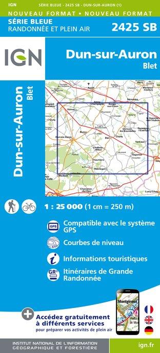 Wandelkaart - Topografische kaart 2425SB Dun-sur-Aubron - Blet | IGN