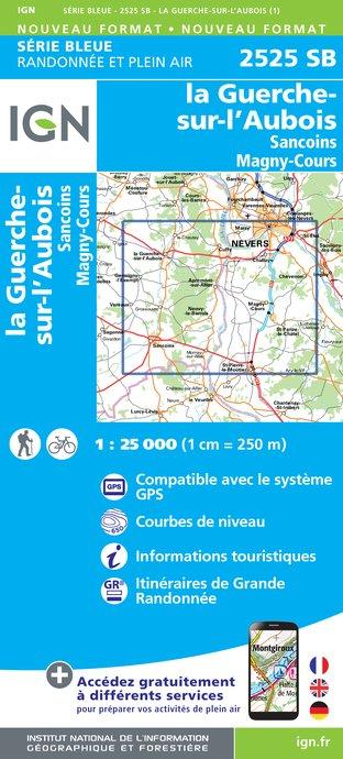 Wandelkaart - Topografische kaart 2525SB La Guerche-sur-l'Aubois, Sancoins, Magny-Cours | IGN