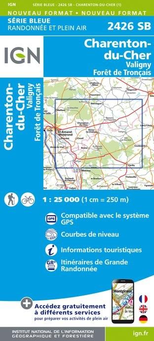 Topografische kaart - Wandelkaart 2426SB Charenton-du-Cher, Valigny, Forêt de Tronçais | IGN