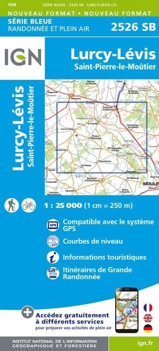 Topografische kaart - Wandelkaart 2526SB Lurcy-Lévis, St-Pierre-le-Moûtier   IGN
