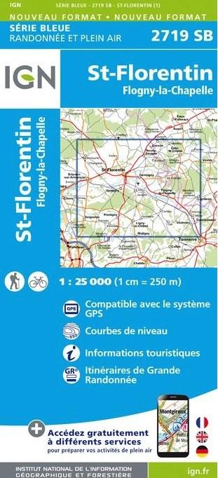 Wandelkaart - Topografische kaart 2719SB Saint-Florentin - Flogny-la-Chapelle | IGN