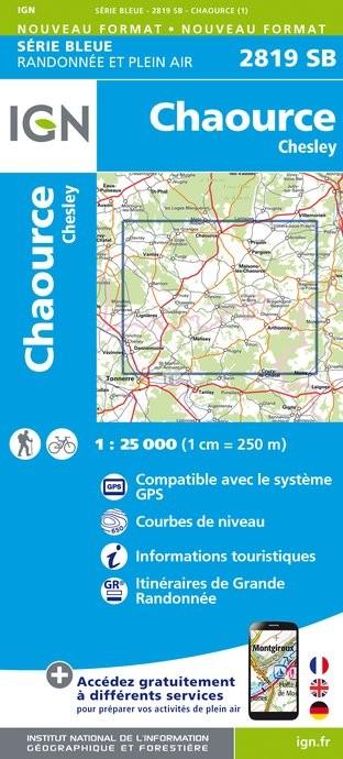 Topografische kaart - Wandelkaart 2819SB Chaource, Chesley | IGN