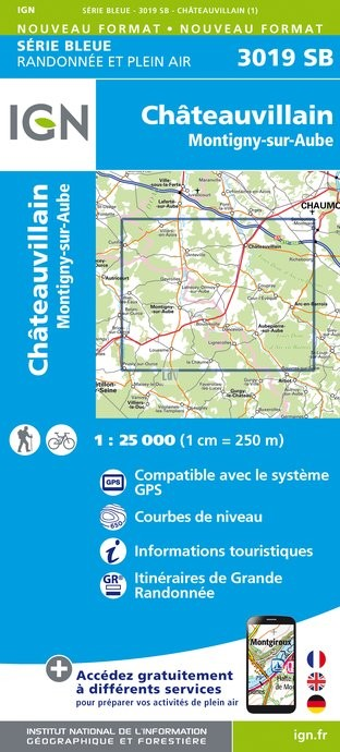 Topografische kaart - Wandelkaart 3019SB Châteauvillain, Montigny-sur-Aube   IGN