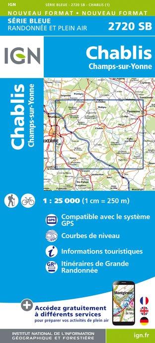 Wandelkaart - Topografische kaart 2720SB Chablis, Champs-sur-Yonne   IGN
