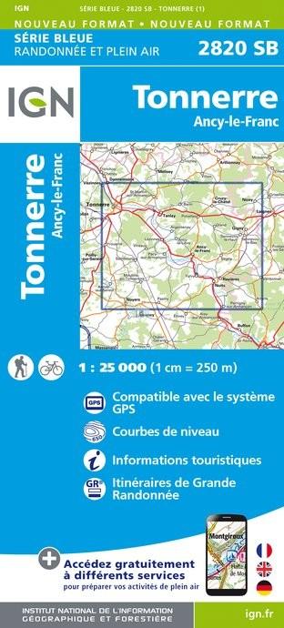 Topografische kaart - Wandelkaart 2820SB Tonnerre, Ancy-le-Franc | IGN