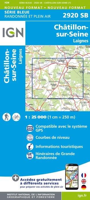 Topografische kaart - Wandelkaart 2920SB Châtillon-sur-Seine, Laignes | IGN
