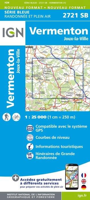 Topografische kaart - Wandelkaart 2721SB Vermenton, Joux-la-Ville | IGN