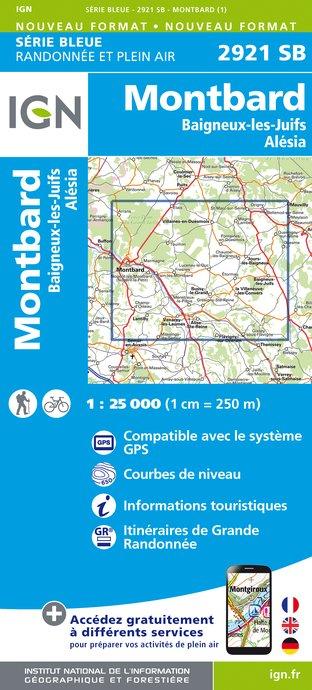 Topografische kaart - Wandelkaart 2921SB Baigneux-les-Juifs, Alésia, Montbard | IGN